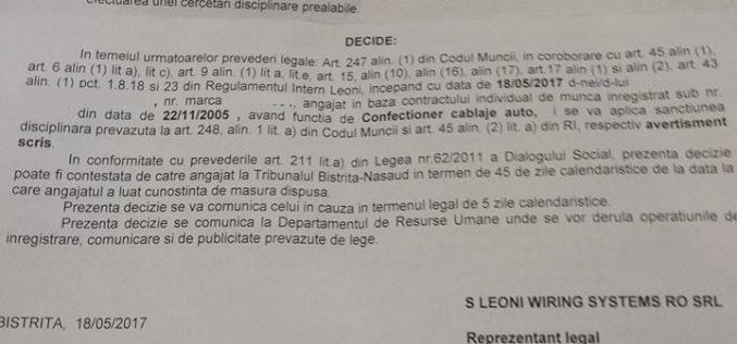 Greviștii de la Leoni care și-au păstrat slujbele au primit scrisorele acasă. Vezi ce sancțiuni le-a aplicat angajatorul