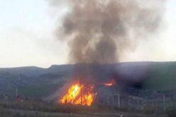 VIDEO: Incendiu sâmbătă seara la depozitul de deșeuri de la Tărpiu